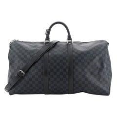 Louis Vuitton Keepall Bandouliere Bag Damier Cobalt 55 Interior Color: Black