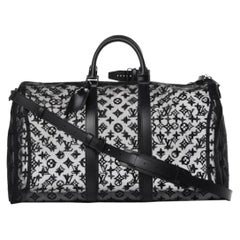 Louis Vuitton NEW Black Monogram Mesh Large Carryall Weekender Duffle Men's Bag