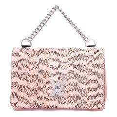 Louis Vuitton NEW Pink Leather Snakeskin Exotic Top Handle Satchel Shoulder Bag
