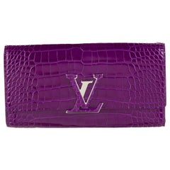 Louis Vuitton NEW Purple Crocodile Exotic Logo Charm Evening Clutch Wallet W/Box