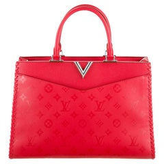 Louis Vuitton NEW Red Monogram Leather Silver Travel Top Handle Satchel Tote Bag
