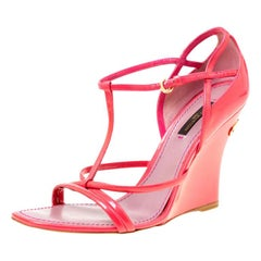 Louis Vuitton Pink Patent Leather Ankle Strap Square Toe Wedge Sandals Size 36.5