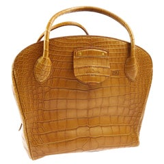 Louis Vuitton Special Order Cognac Alligator Exotic Skin Top Handle Satchel Bag