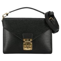 Louis Vuitton Women's Cross Body Bag Monceau Black Leather