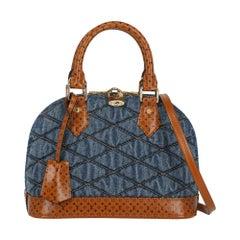 Louis Vuitton Women's Handbag Alma Bb Navy/Brown Denim