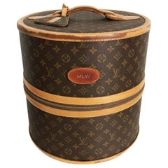 Louis Vuitton x French Company Monogram Wig Case Round Hat Trunk Travel Bag 70s