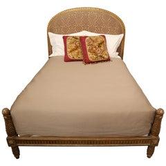 Louis XVI Style Gilt Bed with Silk Headboard-