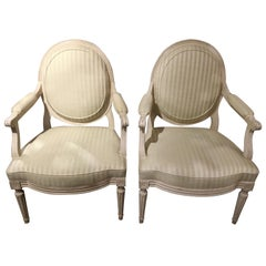 Louis XVI Style Painted White Armchairs, Midcentury