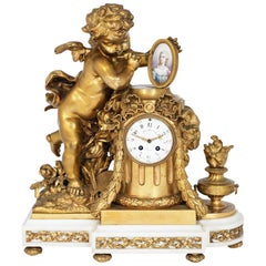 Louis XVI Style Porcelain Mounted Figural Clock, Allegorical of the Arts