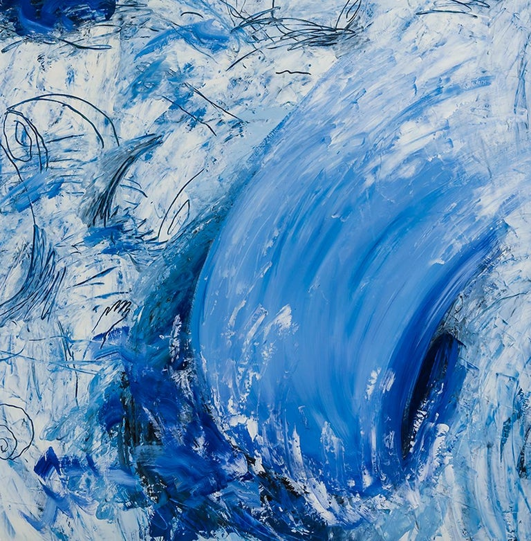 Wave  - Blue Abstract Painting by Louisa Chase