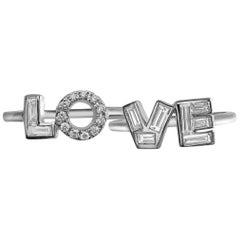 Love Set of Two 18 Karat Gold Diamonds Message Rings, '0.80 Carat Diamonds'