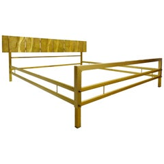 Luciano Frigerio Bed with Cast Bronze Panels, Italy, 1960s