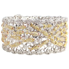 Lucky Golden Fish Cuff Bracelet with Yellow and White Diamonds and Ruby Accent