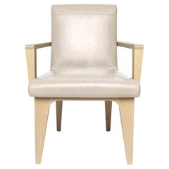 LUMA Design Workshop Silo Arm Dining Chair in Light Tan Leather and Light Wood