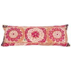 Lumbar Pillow Case Fashioned from an Uzbek Embroidered Mafrash Panel