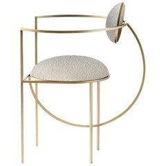 Lunar Chair, Ivory Boucle Fabric and Brass Coated Steel Frame, by Lara Bohinc