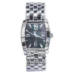 LUXUSA Woman's Stainless Steel Mother of Pearl Square Dial Watch