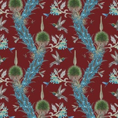 Madidi Hummingbirds in Oxblood Botanical Wallpaper