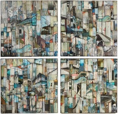 Rise and Climb - Quadriptych, Mixed Media Painting, Glass