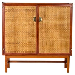 Mahogany and Rattan Cabinet from Westbergs Möbler
