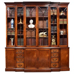 Mahogany Double Breakfront Bookcase
