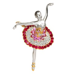 Swan Lake, 18 Karat Gold, Pink Sapphire, Ruby, Diamonds Brooch