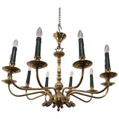 Maison Jansen, Neoclassical Style 10-Light Brass Chandelier with Dolfin Heads