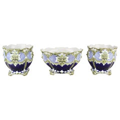 Majolica Cachepot Set of Three by B. De Bruyne Art Nouveau, France, circa 1900