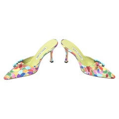Manolo Blahnik Pair of Silk Printed Mules With Turquoise Rhinestone