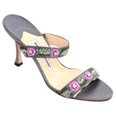 Manolo Blahnik Vintage Open Toe Beaded Slide Sandals W Pink Embroidered Flowers