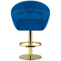 Mansfield Bar Chair in Blue Velvet with Brass Base