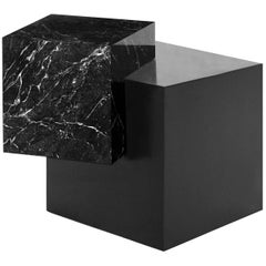 Marble and Black Steel Dark Spring Coexist Askew Side Table by Slash Objects