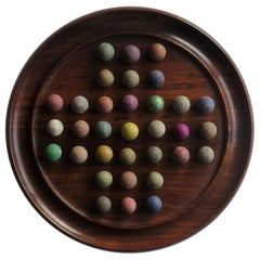 Marble Solitaire Board Game, Hardwood Board with Older 19th Century Clay Marbles