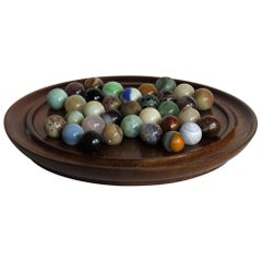 Marble Solitaire Game Hardwood Board and 33 Mainly Agate Mineral Stone Marbles
