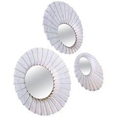Marble Wall Mirror in White Carrara and Brass by Ferruccio Laviani