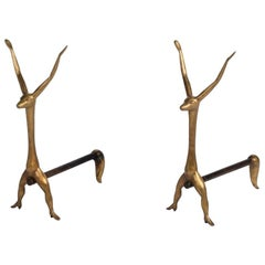 Marc Bankowsky, Creatures, Pair of Bronze Andirons, France, 2008