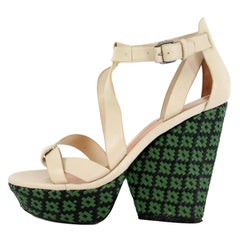 Marc By Marc Jacobs Leather Beige Green Open Toe Sandal Wedge Heel Shoes