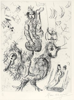 Le Clown Acrobate - Original Etching & Aquatint by Marc Chagall - 1967