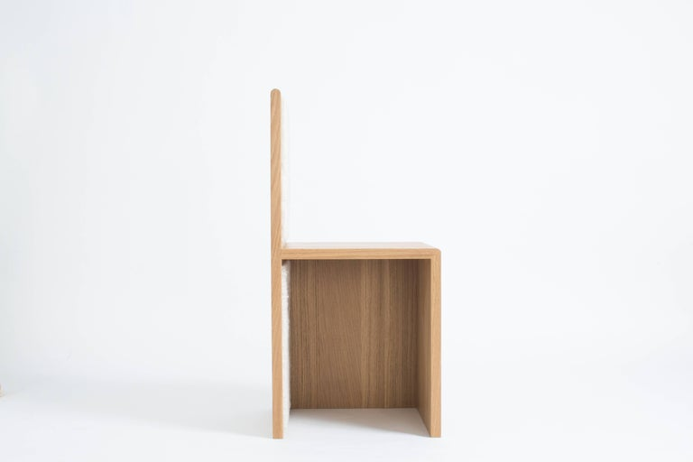 American Contemporary Geometric Oak Chair with Shearling - Marfa Chair by Ben & Aja Blanc For Sale