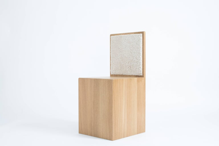 Contemporary Geometric Oak Chair with Shearling - Marfa Chair by Ben & Aja Blanc For Sale 2