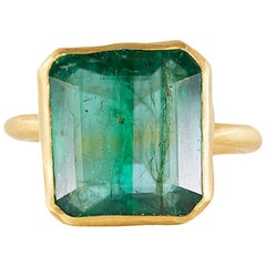 Margery Hirschey 22 Karat Gold with 8.04 Carat Zambian Emerald Ring