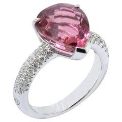 Made in Italy 18 Karat Gold Pink Tourmaline Diamond Ring