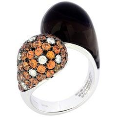 Made in Italy Gold  Diamond Orange Sapphire Smoky Quartz Ring
