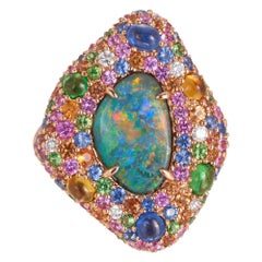 Margot McKinney 18 Karat Rose Gold Ring with Opal, Pink Sapphire, and Tsavorite