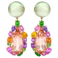 Margot McKinney 18K Rose Gold Pearl Earrings with Morganite Pendant Drop 20.84ct