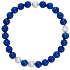 Margot McKinney 18K Gold South Sea Pearl & Lapis Necklet, Diamond in Pearl Clasp