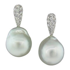 Margot McKinney 18 Karat White Gold Diamond and Baroque South Sea Pearl Earrings