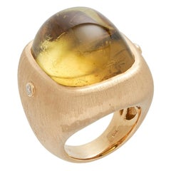 Margot McKinney 18kt Satin Yellow Gold Ring with Yellow Tourmaline and Diamonds