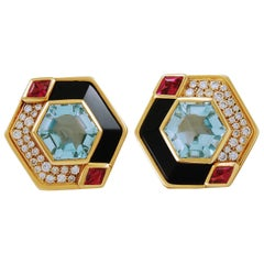 Marina B. 18 Karat Gold Diamond and Gem-Set Earclips