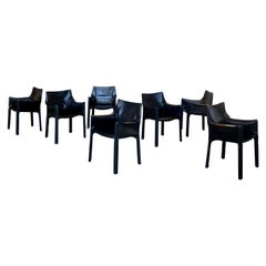 """Mario Bellini """"CAB"""" Leather Armchairs for Cassina, 1977, Set of 7"""